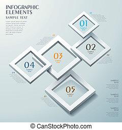 抽象的, フレーム, 選択, infographics