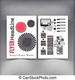 抽象的, ベクトル, デザイン, フライヤ, パンフレット, template.