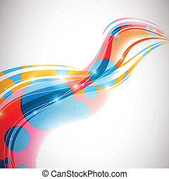 抽象的, ベクトル, デザイン, 波