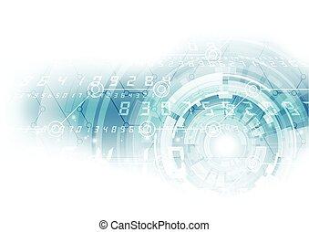 抽象的, ベクトル, デジタルバックグラウンド, technology.