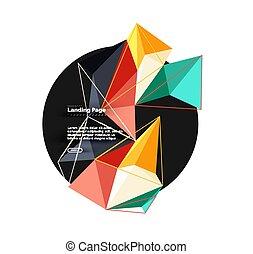 抽象的, ベクトル, 三角形, 背景, 3d