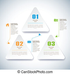 抽象的, ベクトル, 付せん, 3d, infographics