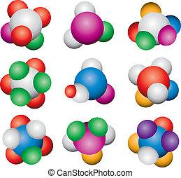 抽象的, ベクトル, 分子, セット, アイコン