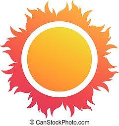 抽象的, ベクトル, 太陽, ロゴ, 浜, シンボル