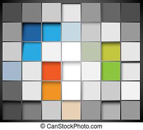 抽象的, ベクトル, 正方形, 背景
