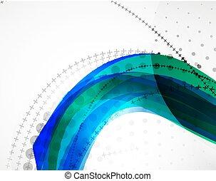 抽象的, ベクトル, 波, 背景, 線