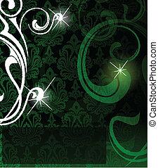 抽象的, ベクトル, 緑の背景