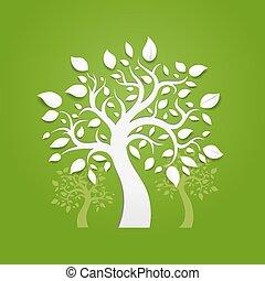 抽象的, ベクトル, 緑の背景, 木