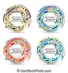 抽象的, ベクトル, 背景, 技術, circle., 未来派, 3d