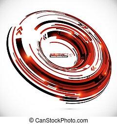 抽象的, ベクトル, 背景, techno, 円, 3d