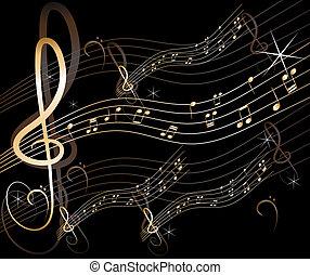 抽象的, ベクトル, 音楽, 背景