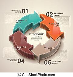 抽象的, ベクトル, 3d, 矢, infographics
