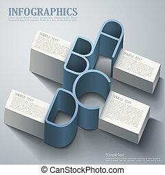抽象的, ベクトル, 3d, infographics