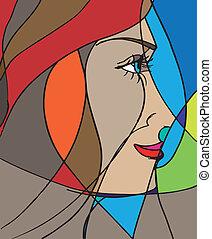 抽象的, ベクトル, face., イラスト, 女