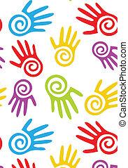 抽象的, ベクトル, hands., seamless, 背景