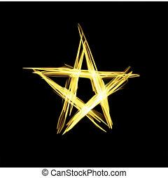 抽象的, ベクトル, star., クリスマス, 金