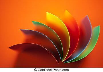抽象的, ペーパーを彩色した, 構造, 上に, オレンジ背景