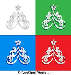 抽象的, ペーパー, クリスマスツリー