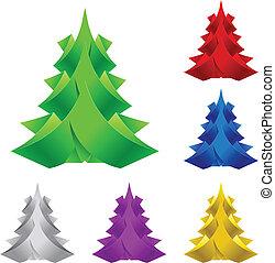 抽象的, ペーパー, クリスマス, 木。