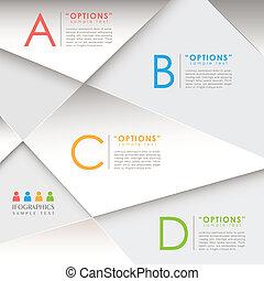 抽象的, ペーパー, 3d, infographics