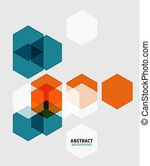 抽象的, モダンアート, 背景, 六角形