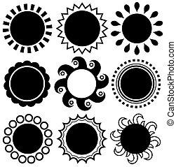 抽象的, モノクローム, 太陽, 主題, セット