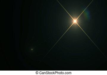 抽象的, ライト, 上に, 黒い背景