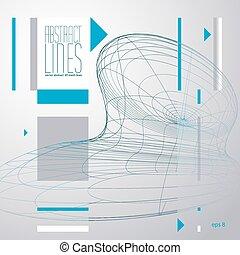 抽象的, ライン, ベクトル, イラスト, コミュニケーション, そして, デジタルの技術, 抽象的, 背景, ゆとり, eps, 8, vector.