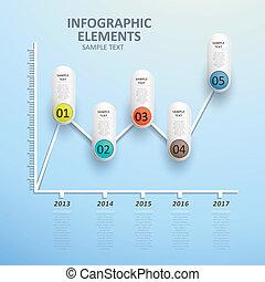 抽象的, ライン 図表, infographics
