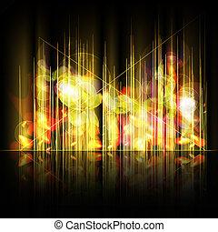 抽象的, ライン, 黄色の背景