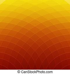 抽象的, ライン, 黄色, 背景, オレンジ, ラウンド