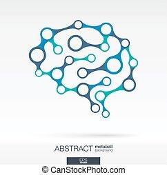 抽象的, ライン, circles., brain., 背景, インテグレイテド