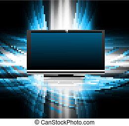 抽象的, リードした, tv, 空白 スクリーン, 現実的, 反射, 明るい, カラフルである, ベクトル, イラスト