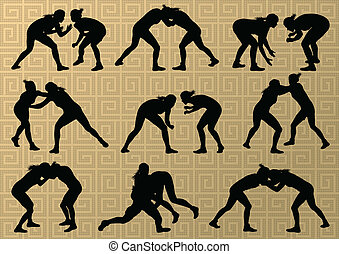 抽象的, レスリング, 若い, イラスト, ギリシャ語, ローマ人, ベクトル, 背景, 活動的, シルエット, スポーツ, 女性