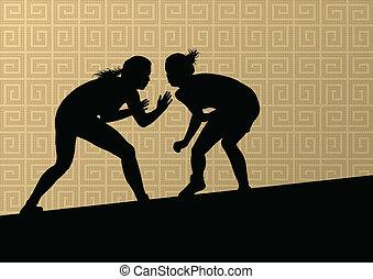 抽象的, レスリング, 若い, イラスト, ギリシャ語, ローマ人, ベクトル, 背景, 活動的, シルエット, ...