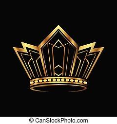 抽象的, ロゴ, vector., 金, デザイン, 王冠
