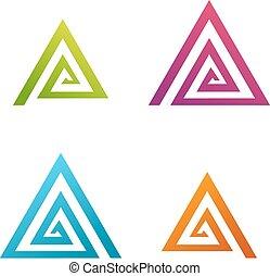 抽象的, 三角形, らせん状に動きなさい, ビジネス, アイコン