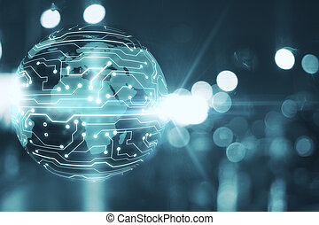 抽象的, 世界的である, インターネット, 接続, 概念