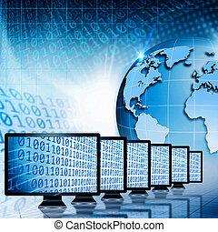 抽象的, 世界的である, 背景, コミュニケーション, internet., 技術