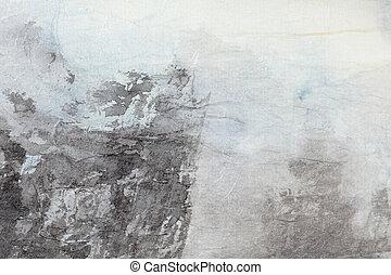 抽象的, 中国語, 絵, 芸術, 上に, 灰色, ペーパー