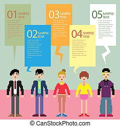 抽象的, 人々, ピクセル, infographics