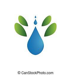 抽象的, 低下, 隔離された, シンボル。, 水, エステ, ロゴ