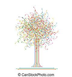 抽象的, 作られた, 木, 有色人種, ネットワーク