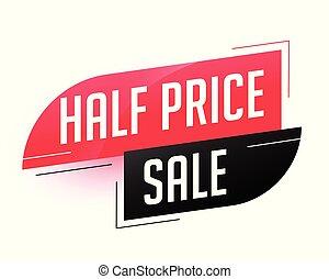 抽象的, 価格, セール, テンプレート, 半分
