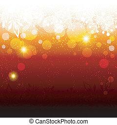 抽象的, 光っていること, 雪片, 背景, クリスマス, 赤