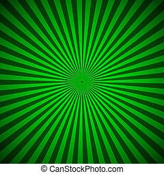 抽象的, 光線, 緑の背景, 放射状