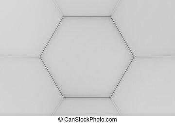抽象的, 六角形, レンダリング, 背景, 幾何学的, ハチの巣, 白, 空, 3d