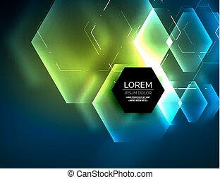 抽象的, 六角形, 白熱, 背景, techno, デジタル