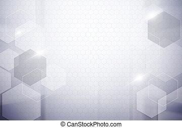 抽象的, 六角形, 背景
