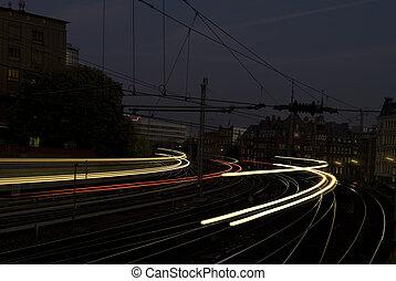 抽象的, 列車, 渡ること, 速い, 夜